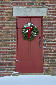 Christmas Wreath on Colonial Schoolhouse Door