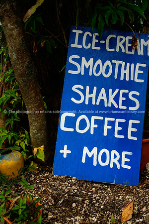 """Refreshments sign, leaning against a tree at Muri Beach, Cook Islands.<br />  Please preview book """"Cook Islands"""", above.  <a href=""""http://www.blurb.com/b/1907535-cook-islands"""">http://www.blurb.com/b/1907535-cook-islands</a>"""