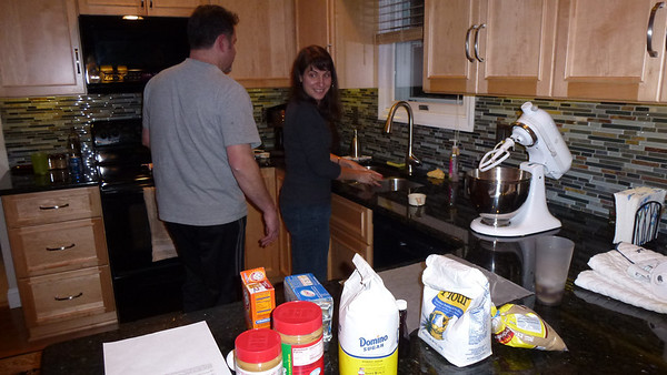 Doug and Diane setting up for cookie-making.