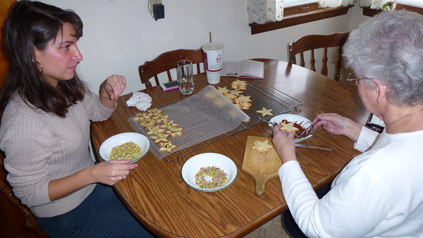 Diane and her Mom assembling the Star Cookies.