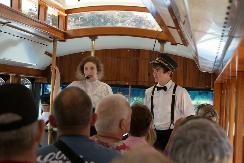 Actors describing Mr. Hershey's life on trolley tour -- Hershey's Chocolate World, Hershey, PA - June 2014