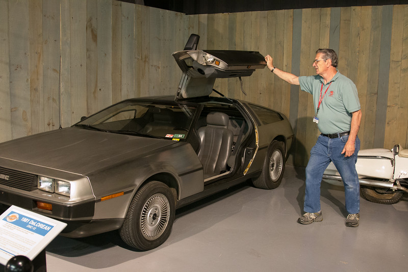 1981 DeLorean DMC-12: the door won't stay up, so a museum volunteer lifted it for us. -- Northeast Classic Car Museum, Norwich, NY, June 2014