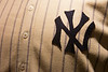 Detail of NY from old Yankees uniform -- A trip to the Baseball Hall of Fame, Cooperstown, NY, June 2014