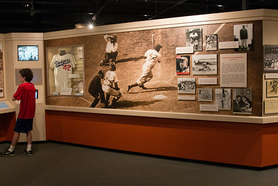 Noah at the Jackie Robinson exhibit -- A trip to the Baseball Hall of Fame, Cooperstown, NY, June 2014