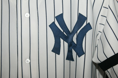 detail of Modern NY of Yankees uniform -- A trip to the Baseball Hall of Fame, Cooperstown, NY, June 2014