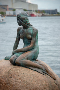 The Little Mermaid, Den Lille Havfrue, Langelinie, København, Copenhagen, Denmark. Iconic bronze mermaid sculpture, by Edvard Eriksen, of a character from H.C. Andersen's fairytale.
