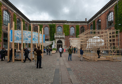"Art fair being setup. Kunsthal Charlottenborg (""Charlottenborg Exhibition Hall"") in Copenhagen, Denmark is the official exhibition gallery of the Royal Danish Academy of Art. The palatial residence was constructed in 1672–83 for Ulrik Frederik Gyldenløve, in the Baroque architectural idiom shared by Holland, England and Denmark. The structure contains an extensive library of the fine arts."