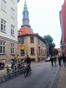 Copenhagen, Denmark, Bicycling on Street Scene in City Center