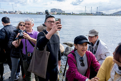 Copenhagen, Denmark, Crowd of Chinese Tourists Visiting Little Mermaid Statue