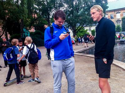 Copenhagen, Denmark, Crowd of Danish Teenagers Playing Smart Phone Game Pokemon Go in Public Park