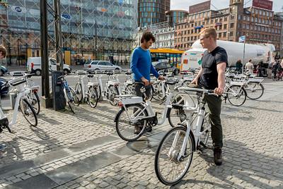 Copenhagen, Denmark, Street Scenes, People Riding Bicyles
