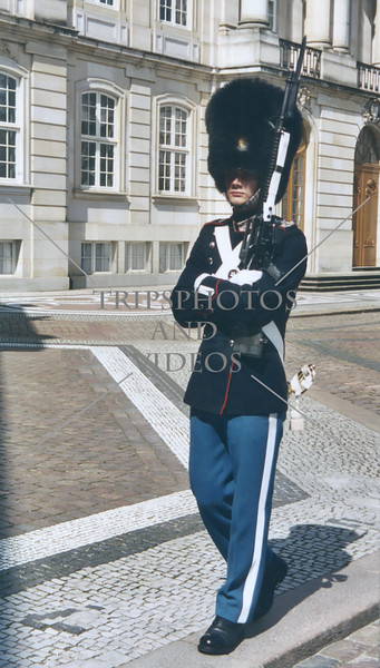 Royal Guard patrols the Palace Square ground in Copenhagen, Denmark.