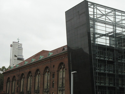 """The Black Diamond"" (right) is an award winning piece of architecture located downtown Copenhagen.  Primarily it's a library but contains other exhibition spaces too.  I think on paper the contrast between it and the existing library (left) would not appear to be harmoniuos but surprisingly in reality it is."
