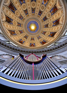 The ceiling and pipe organ of the Marble Church