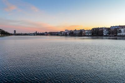 Copenhagen sunset over lake