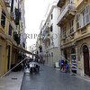 A view of building architectures and shopping street in Corfu, Greece.