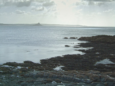 Low tide on Mounts Bay at Penzance, with St Michaels Mount