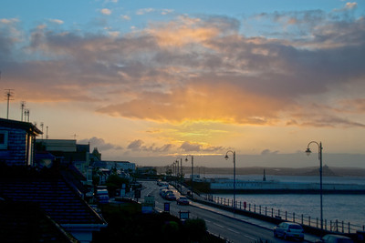 The Western Promenade at sunrise, with St Michaels Mount in the distance