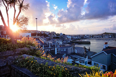 Evening sunset view towards St Ives Harbour