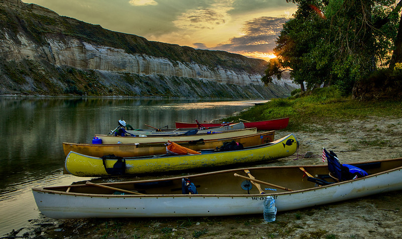 Sunset and Canoes