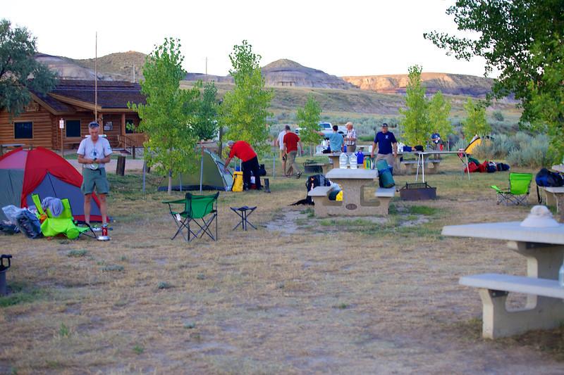Setting up camp at Coal Banks Landing after long, hard & hot day.