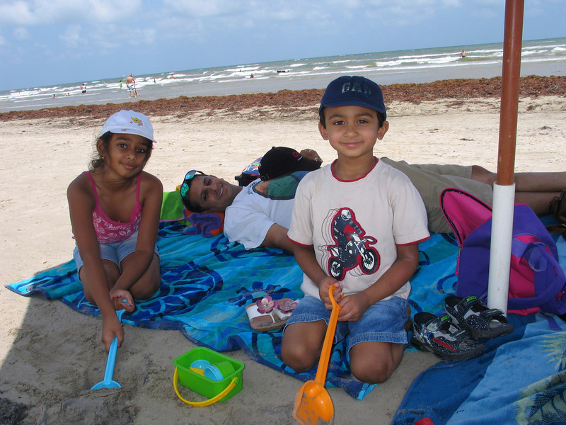 Relaxing on the beach at Port Aransas, TX, on Mustang Island.