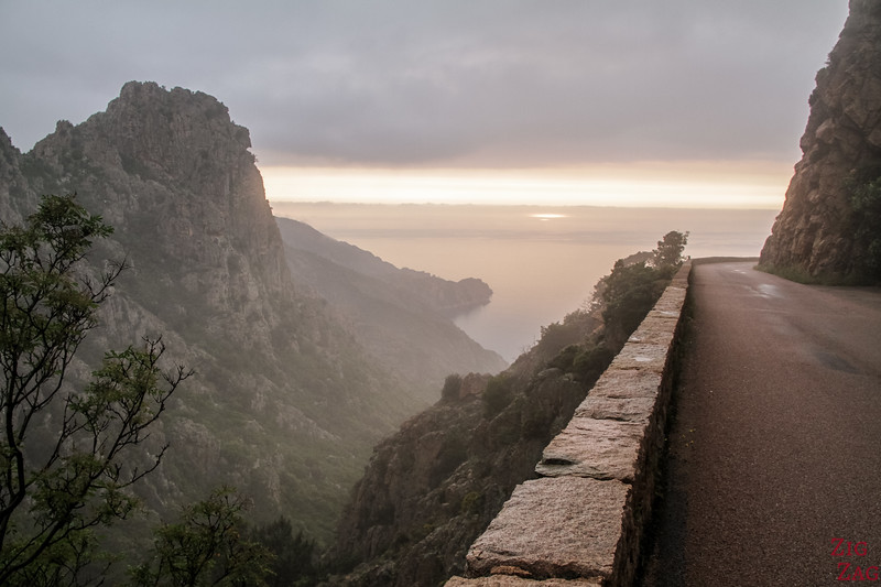 Calanques de Piana Corsica in the fog