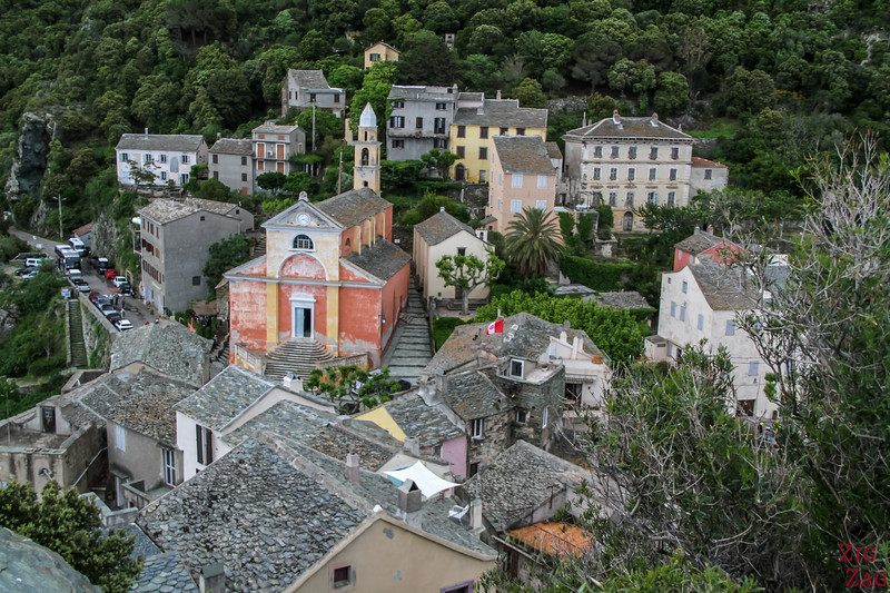 Cap Corse village - Nonza pink church