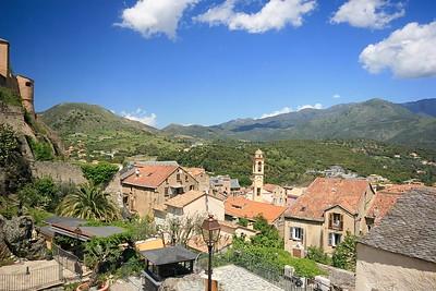 Het uitzicht over de omgeving van Corte. Corsica, Frankrijk.