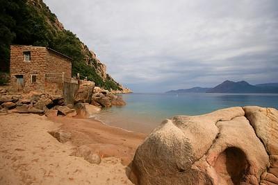 Strand Anse de Sagone. Corsica, Frankrijk.