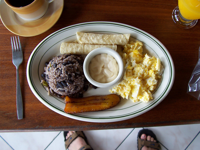 Breakfast at the hotel. I love rice and black beans with eggs and fried plantain.