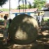 Costa Rica 2010: Osa - Large pre-Colombian stone sphere (Las Bolas) in Palmar Sur