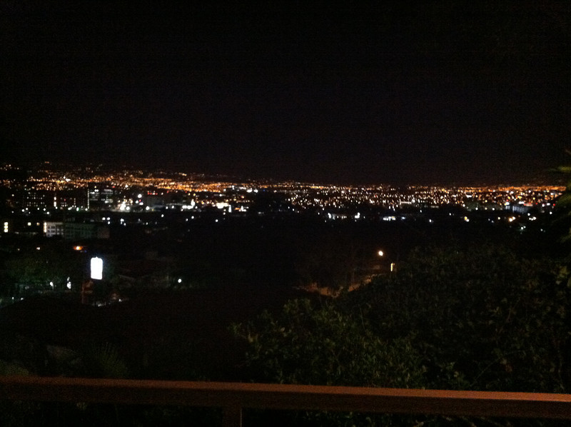 First night in Costa Rica.  A shot of the  Central Valley at night with San Jose(capital) on the right and Heredia left center.