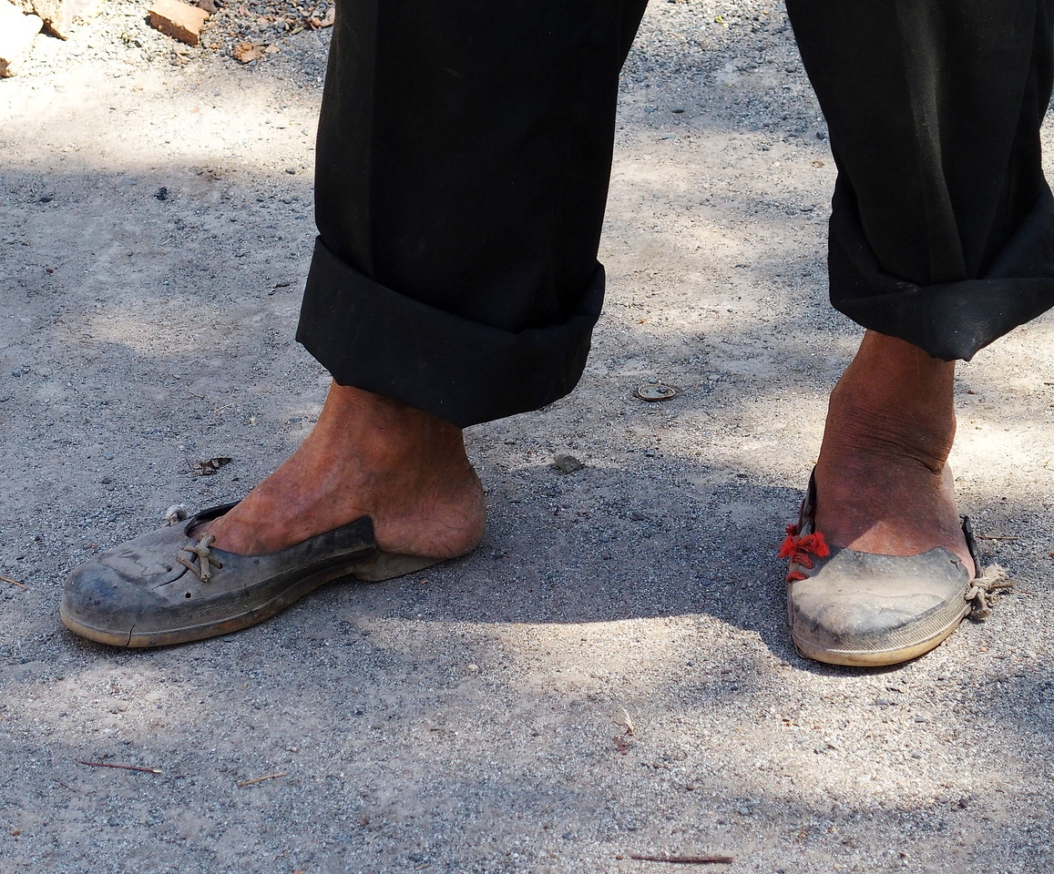 Though Francisco has a collection of ''fancy shoes'' for his outings, he dispenses with them at home.