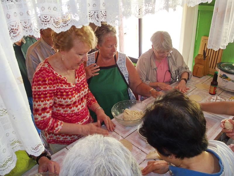 Making empanada dough and tortillas at Reina's house