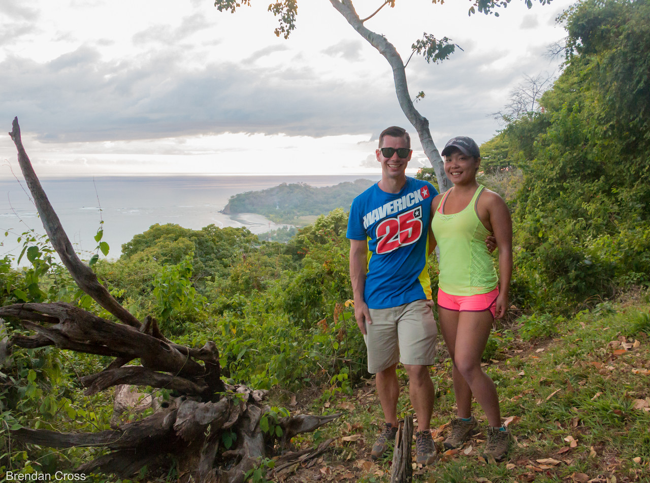 Us at a cool vista point at the end of the trail. Samara beach in the background. <br /> I love hikes with rewards like this.