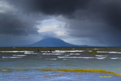 a inland lake with volcano background, Honduras
