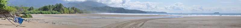 These panorama images were captured south of the whale tail thus this southward facing panorama shows the park beach at low tide and the western coast of Costa Rica south of the whale tail. That small spec to the right of the image is Whale Island.<br /> Click on this image to make it larger; once you click on this image you will have options for size at the top of the image - choose the size that you prefer.