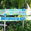 "As near as we can tell this sign, near the trail head on the Bahia Ballena Beach, translates too:<br /> ""I love the sea""<br /> ""Why not throw garbage""<br /> ""Keep the toilet"""