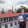 Audrey overlooking the Plaza del benemenrito Gernal Guardia, Alajuela,  Costa Rica.  July, 2015