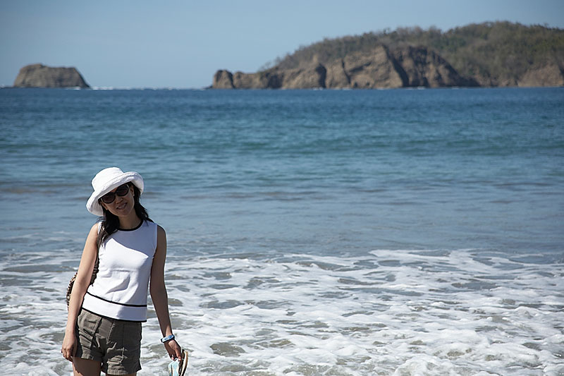 Taking a quick walk in the Pacific at Playa Carillo.