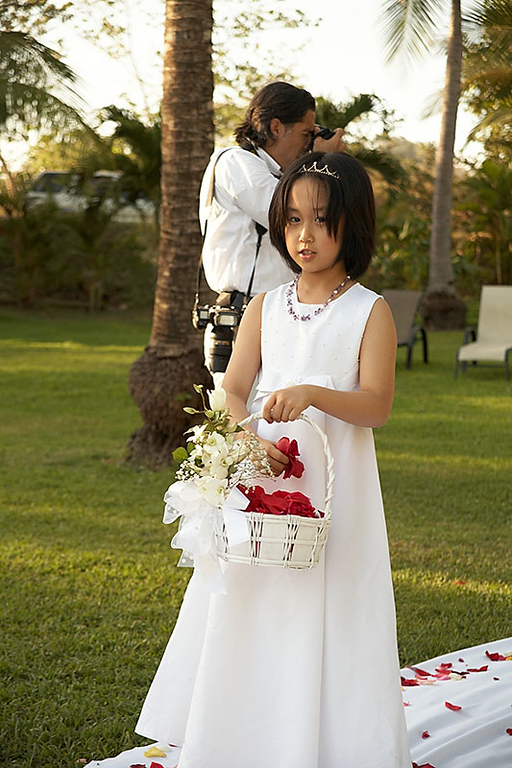 Vivian's sister was her flower girl. She took her job very seriously.