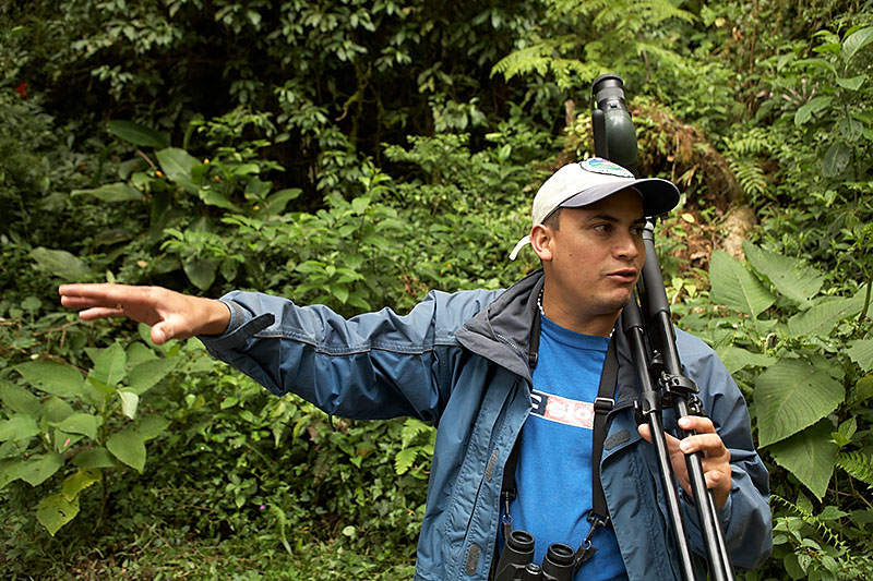 Our guide, Bernand, with his Swarovski spotting scope. We didn't know that Swarovski made optics.
