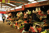 The busy central market has rows and rows of fresh produce stands, meat and fish markets, cheeses, and souvenirs..