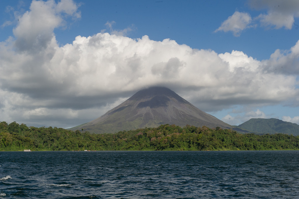 We crossed lake Arenal on the way to the cloud forest, and had some good views of the volcano.
