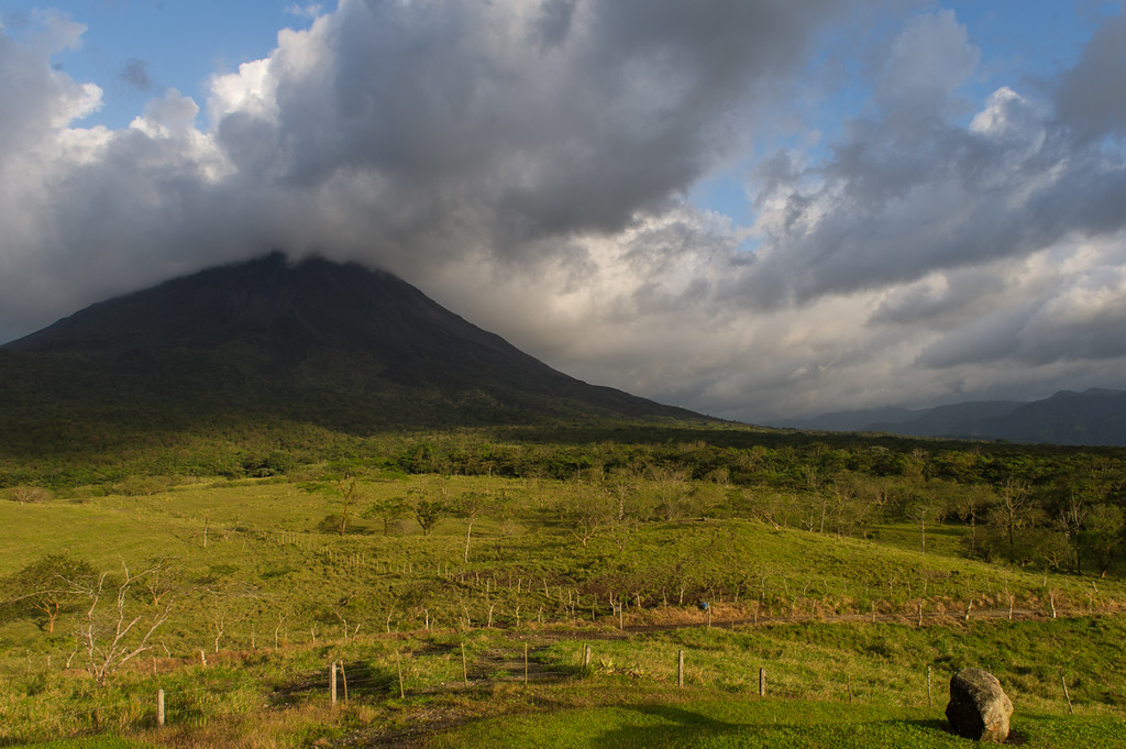 Arenal volcano at dusk.