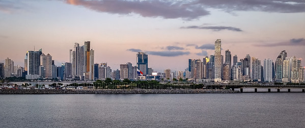 Skyline of Panama City, Panama, at  sunset.