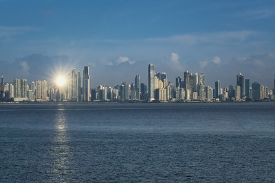 Skyline of Panama City, Panama, at dawn.