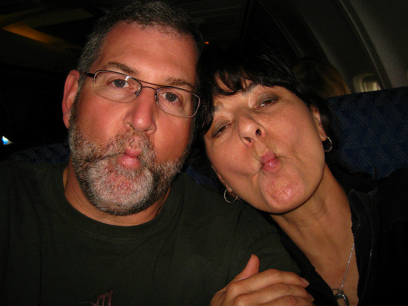 "The annual ""fish face"" shot in the airplane"