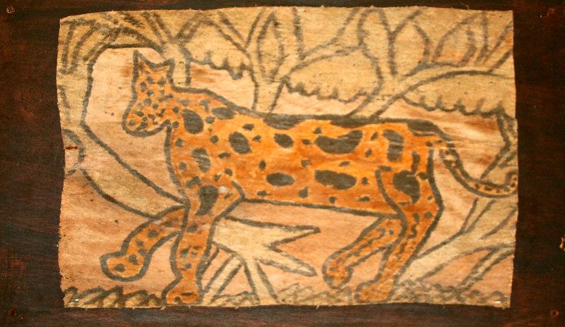 Wall decoration - Jaguar painting on indigenous bark cloth